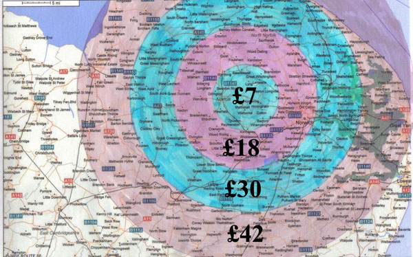 Use the map to work out what price band you are in
